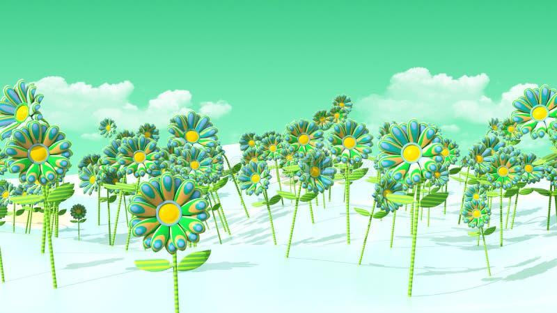 champ 3D des fleurs psychédéliques et du ciel vert illustration libre de droits