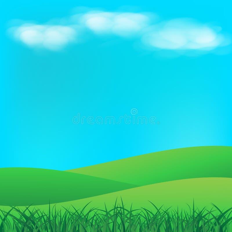 Champ d'herbe avec des nuages sur le vec de fond d'abrégé sur paysage de ciel illustration de vecteur