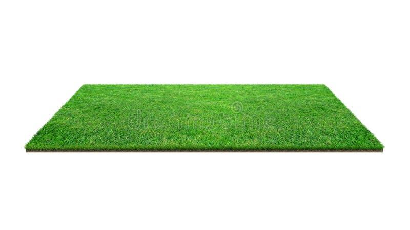 Champ d'herbe verte d'isolement sur blanc avec le chemin de coupure Tapis artificiel d'herbe de pelouse pour le fond de sport photos stock