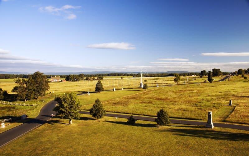 Champ de bataille de Gettysburg à partir de dessus de monument de la Pennsylvanie photographie stock
