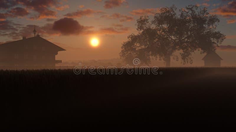 Champ de blé d'or dans le coucher du soleil illustration stock