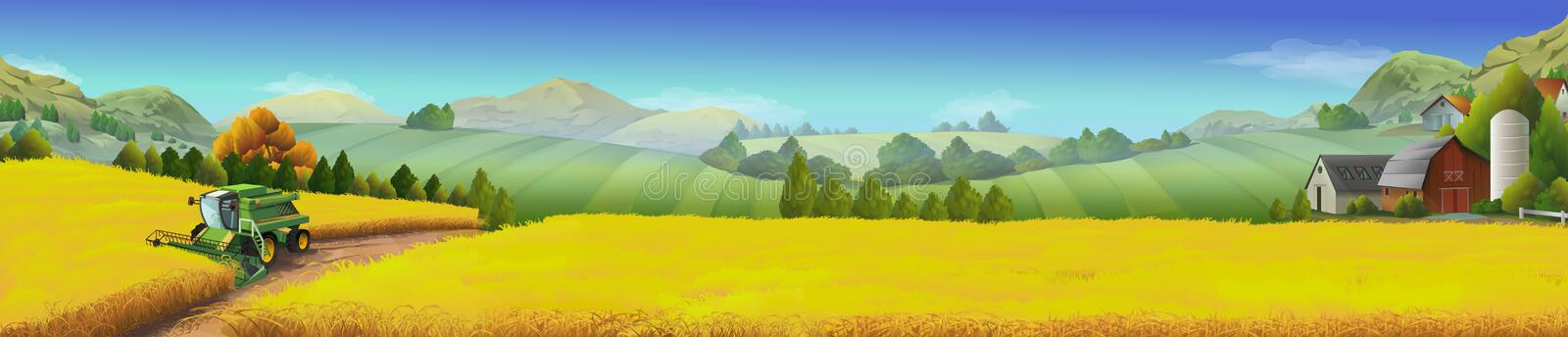 Champ de blé, paysage rural illustration stock