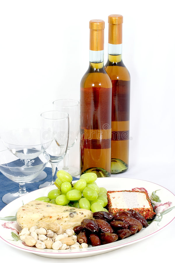 Champ de cablage à couches multiples de vin et de fromage photos stock