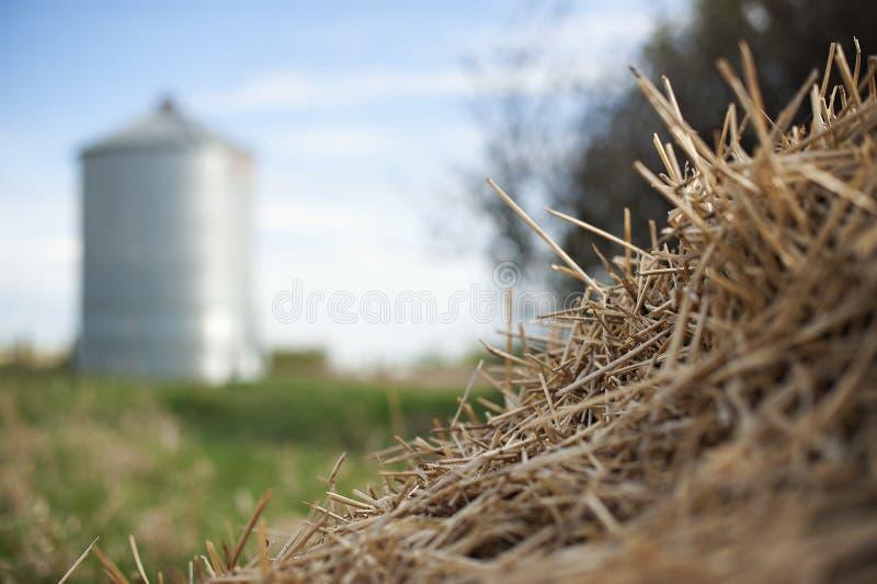 Champ de ferme d'Alberta ou de prairie avec le silo et le foin image stock