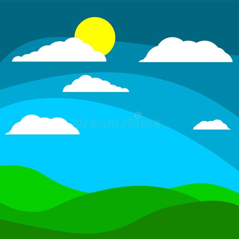 Champ de fond des enfants s de bande dessinée avec le soleil derrière les nuages illustration stock