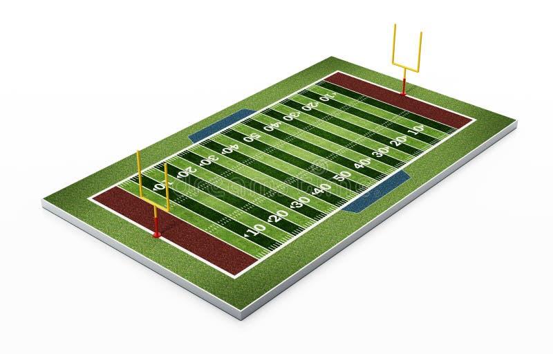 Champ de football américain d'isolement sur le fond blanc illustration 3D illustration de vecteur