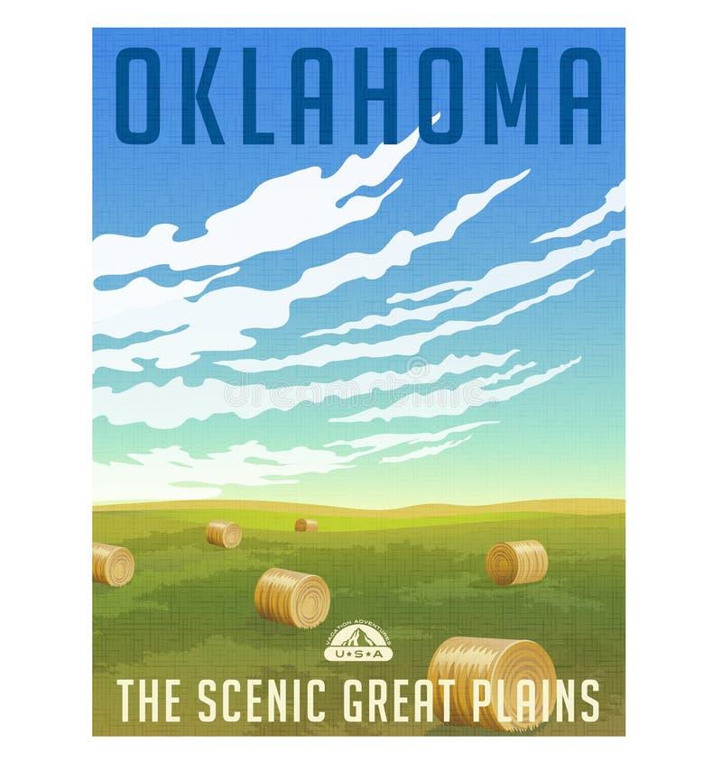 Champ de l'Oklahoma avec l'affiche ronde de balles de foin