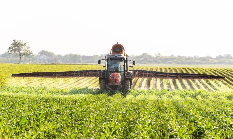 Champ de maïs de pulvérisation de tracteur images libres de droits