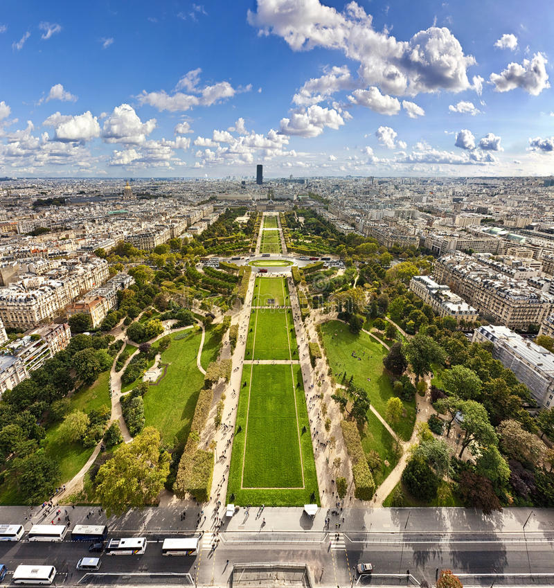 Champ de Mars from the Eiffel Tower stock photography