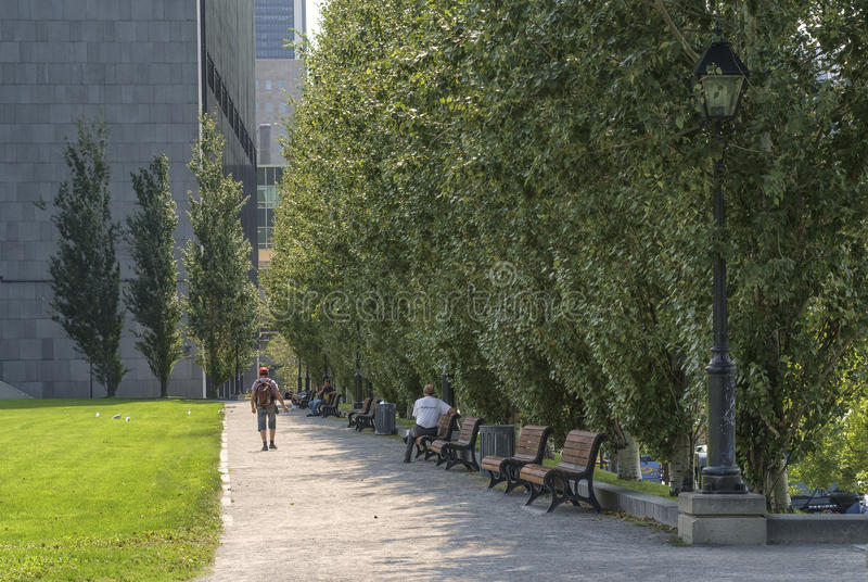Champ de Mars (Montreal). Champ de Mars promenade in Old Montreal, tourist area on a sunny day. Champ de Mars is a public park in Old Montreal quarter of stock image