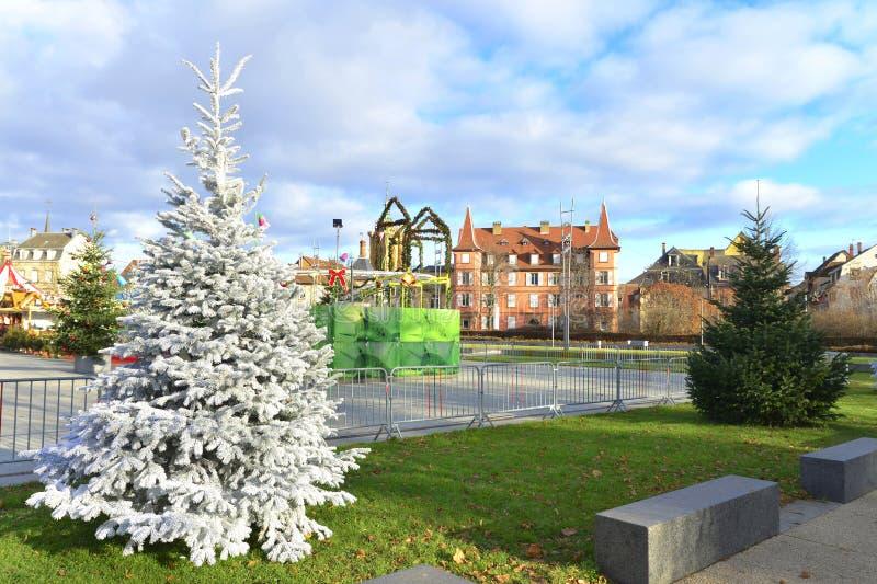 Champ de Mars park fountain. Statue, garden. Colmar, Alsace, France stock photography