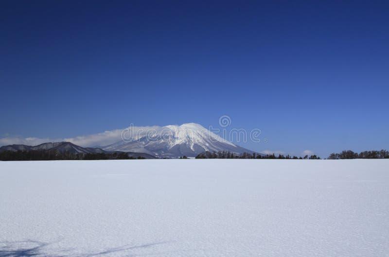 Champ de neige et Mt.Iwate photos libres de droits