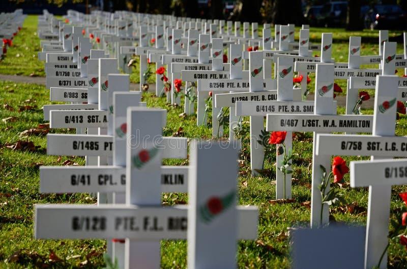Champ des croix pour Anzac Day image libre de droits