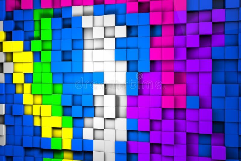 Champ des cubes 3d colorés 3d rendent des cylindres d'image illustration stock