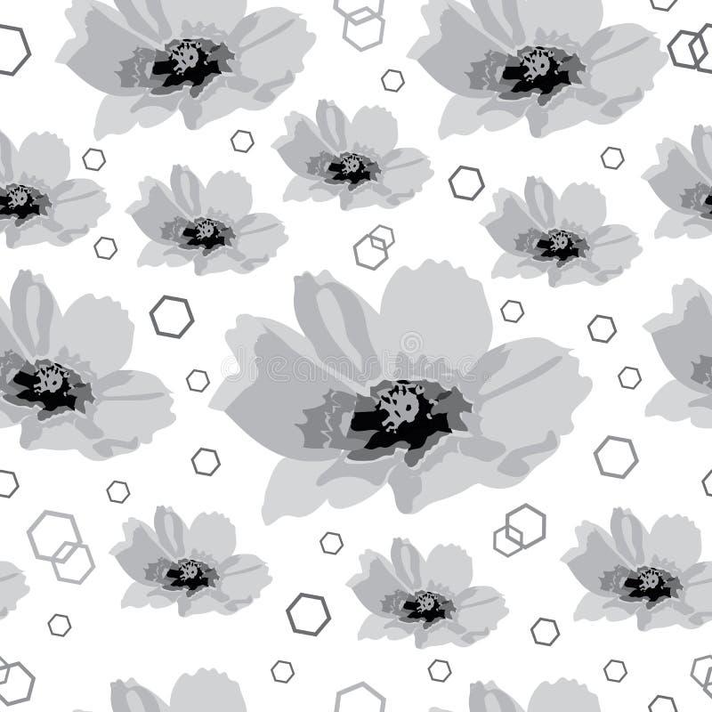 Champ-fleurs de cosmos à l'arrière-plan sans couture de modèle de répétition de fleur en noir et blanc illustration stock