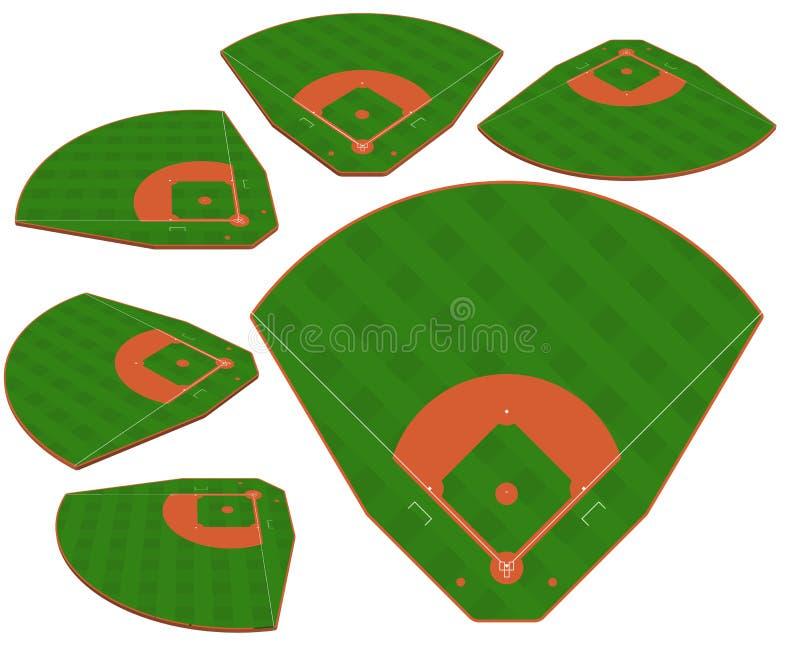 Champ vert de base-ball avec la ligne blanche vecteur de majoration illustration de vecteur