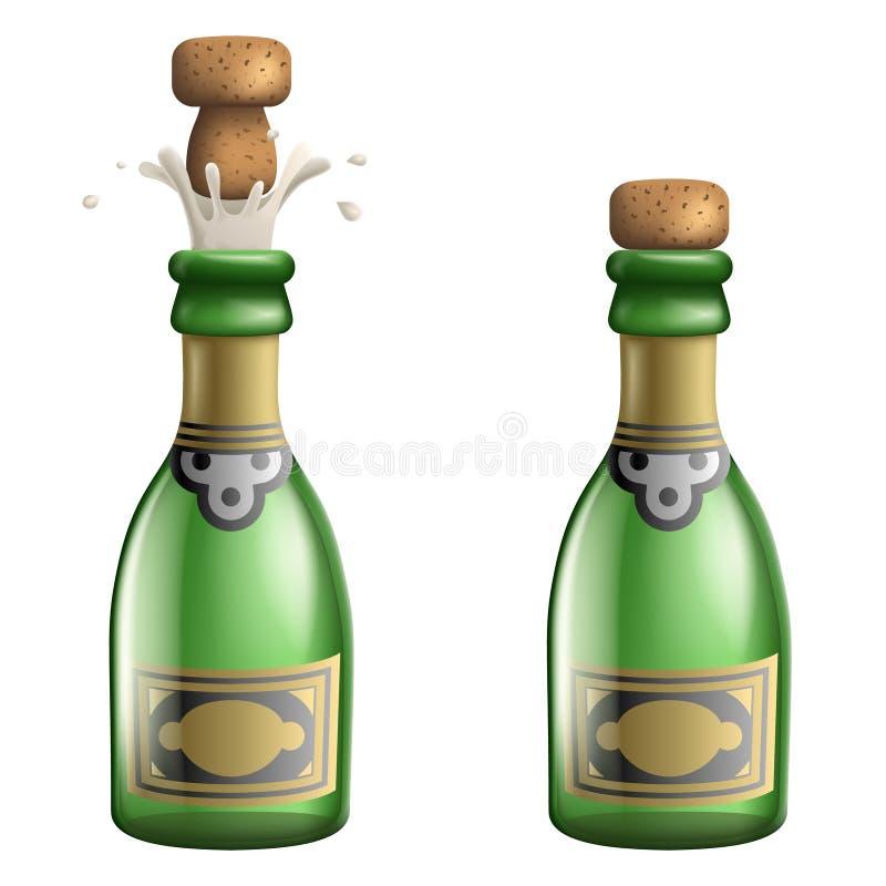 CHAMPAGNE που σκάει το τρισδιάστατο ρεαλιστικό διάνυσμα προτύπων εικονιδίων ποτών συμβόλων ευημερίας επιτυχίας εορτασμού υποχρέωσ απεικόνιση αποθεμάτων