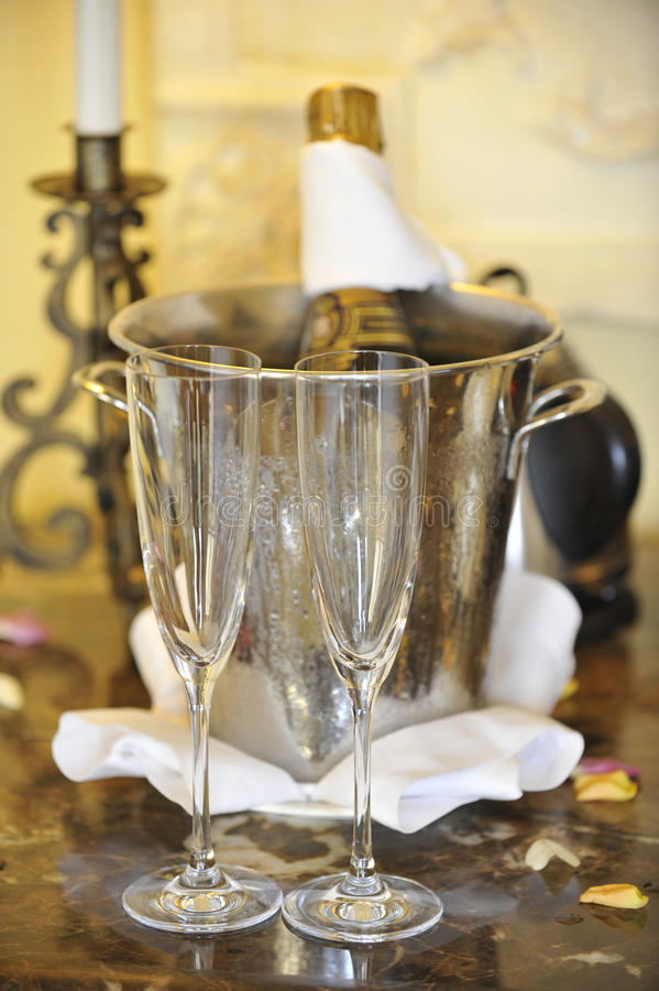 Free Champagne And Glasses Royalty Free Stock Photo - 13133375
