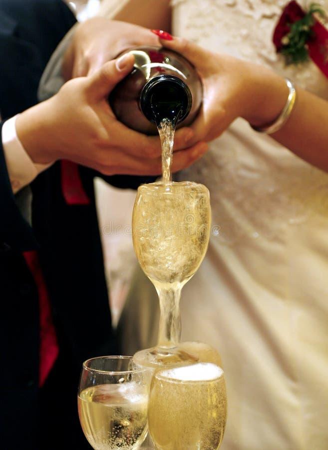 Champagne auf der Hochzeit stockfoto