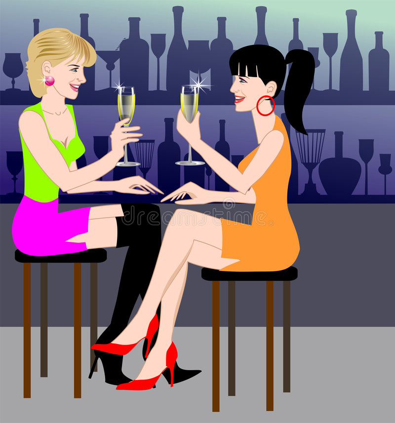 Champagne at the bar royalty free illustration