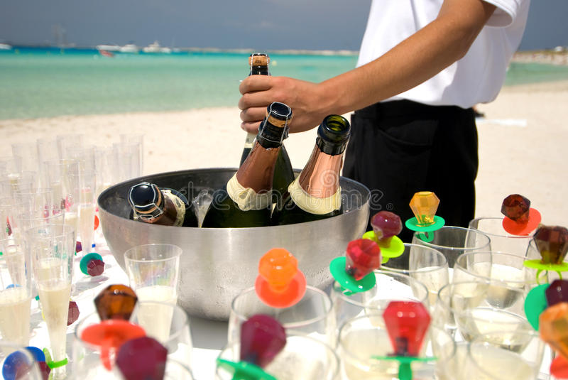 Champagne on the Beach royalty free stock images