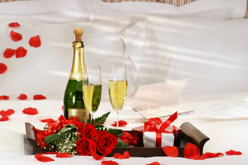 Download Champagne In Bed Stock Photo - Image: 3981880