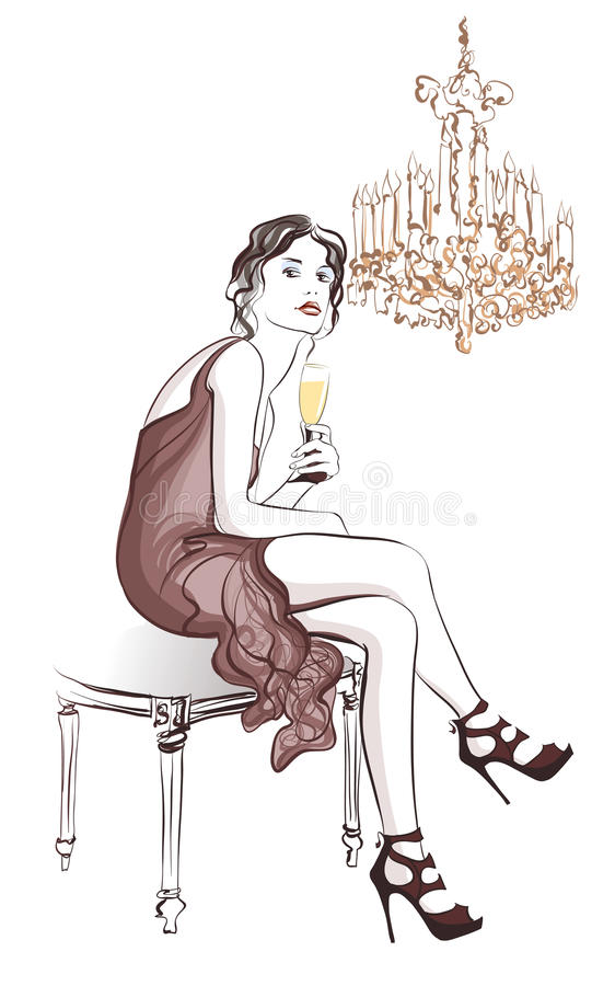 Champagne bevente della donna in una decorazione alla moda illustrazione di stock