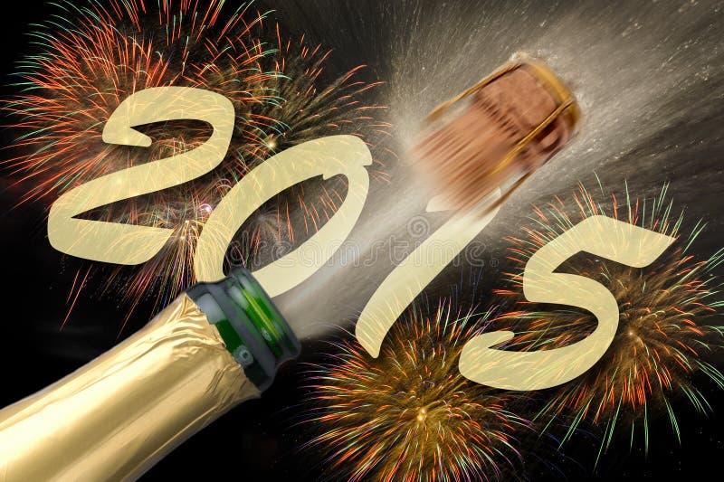 Champagne bij nieuw jaar 2015 stock fotografie
