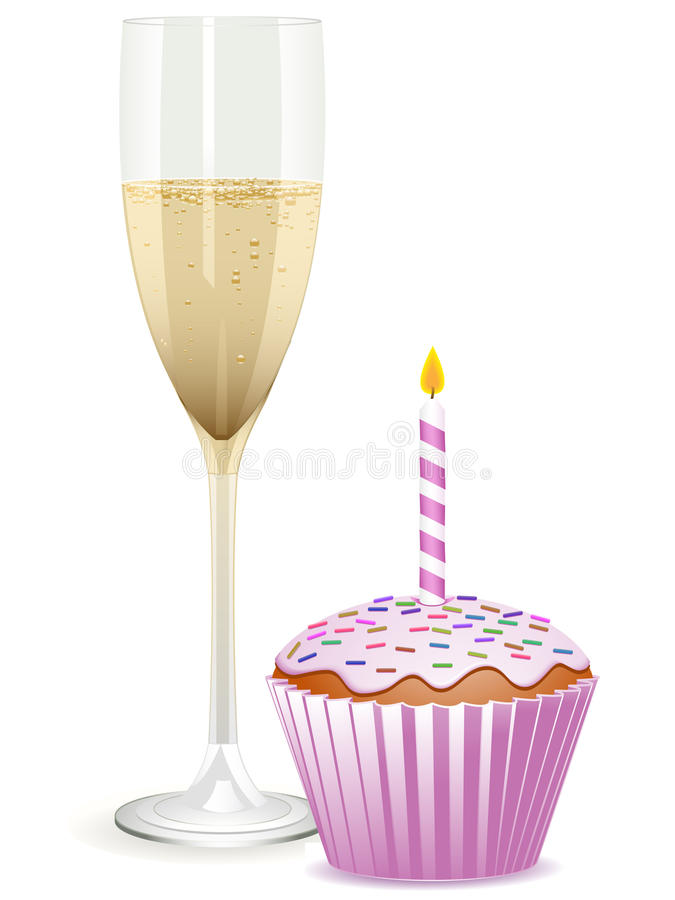 Download Champagne And Birthday Cupcake Stock Vector - Image: 19884266