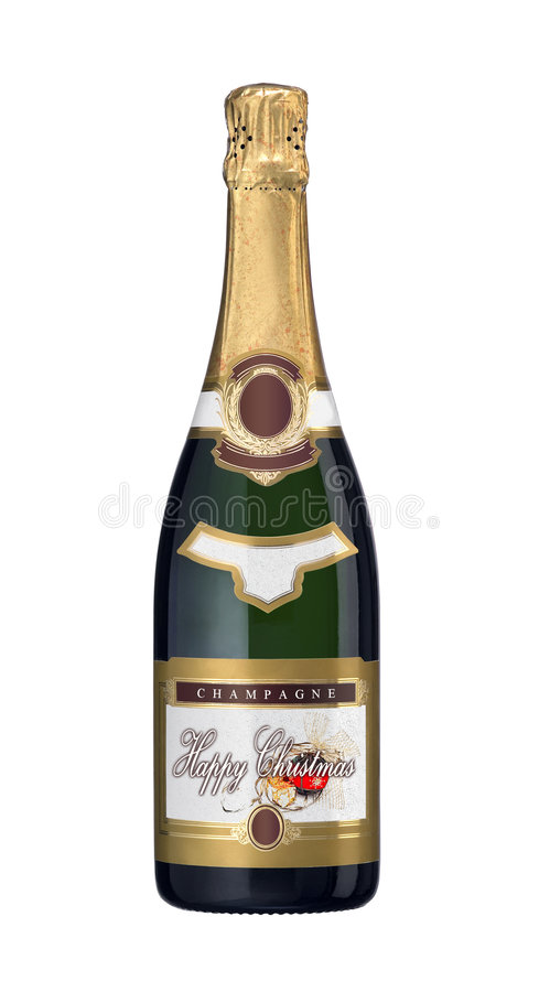 Champagne Bottle. A champagne bottle with a Happy Christmas label stock photography