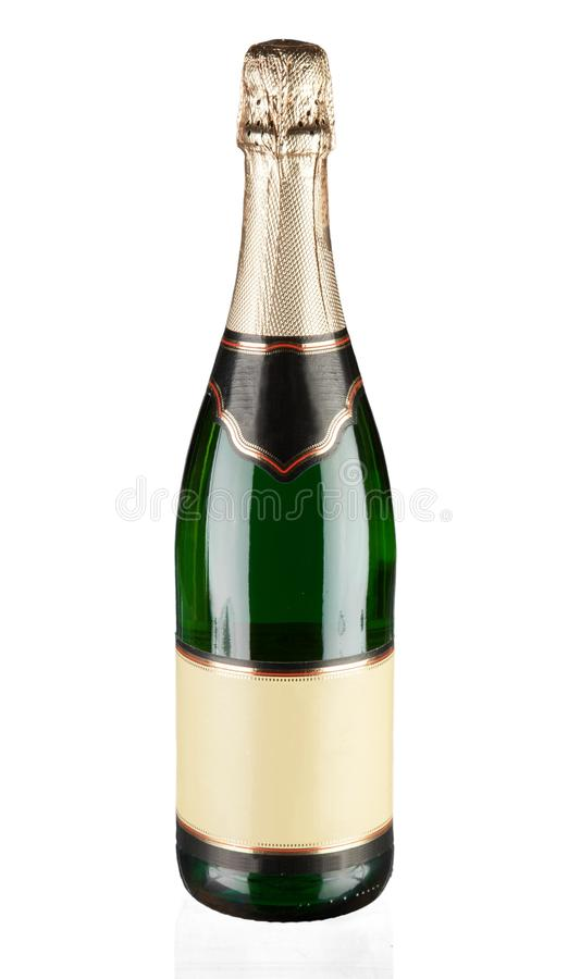 Champagne bottle with a blank label. Champagne bottle alcohol luxury blank label bubbly champagne bottle royalty free stock photography