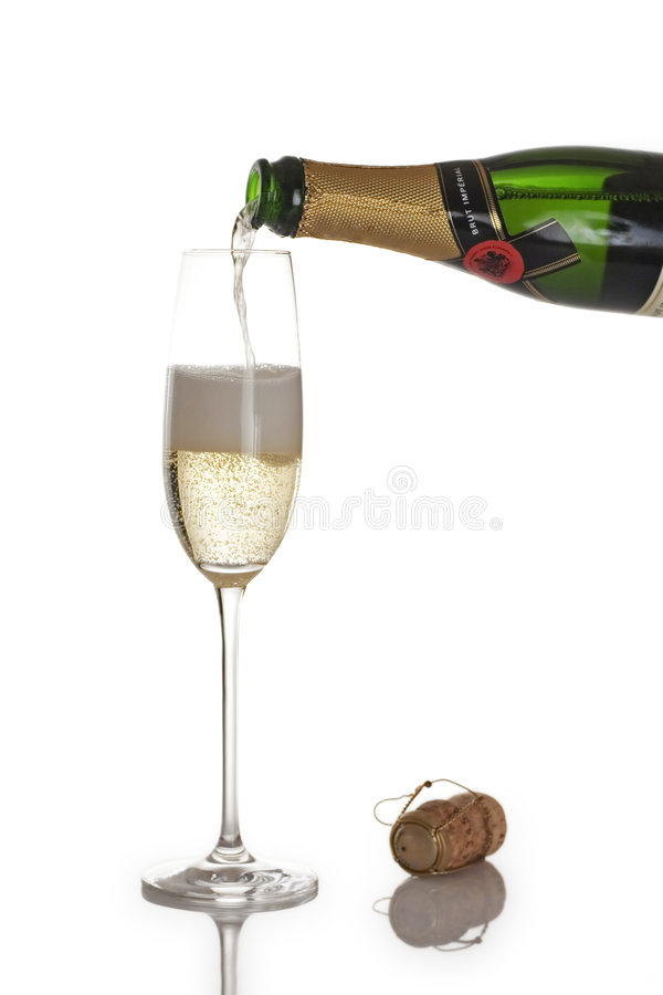 Free Champagne Bottle And Flute Stock Photography - 1111222