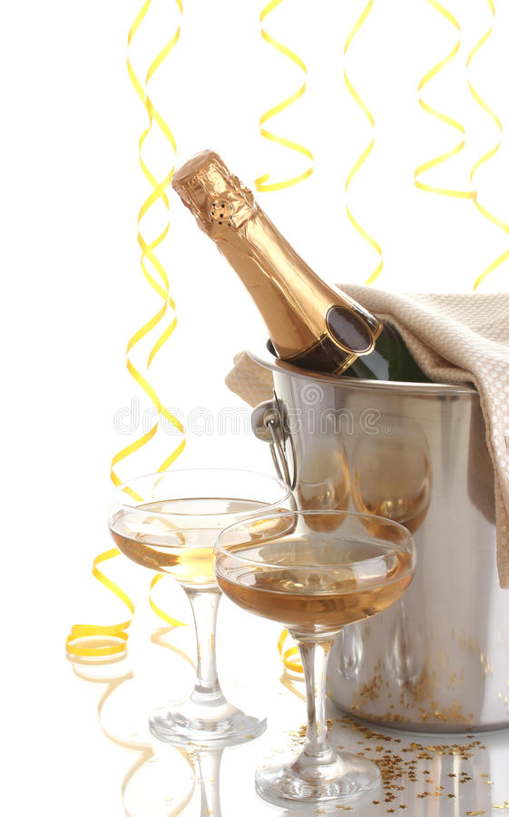 Champagne bottle in bucket stock images