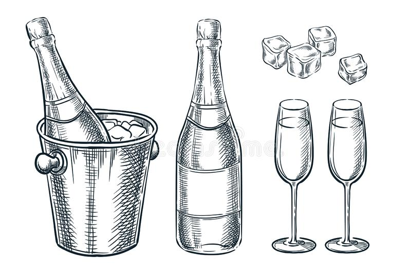 Champagne bottle in bucket with ice and two glasses. Vector sketch illustration. Hand drawn holiday design elements royalty free illustration