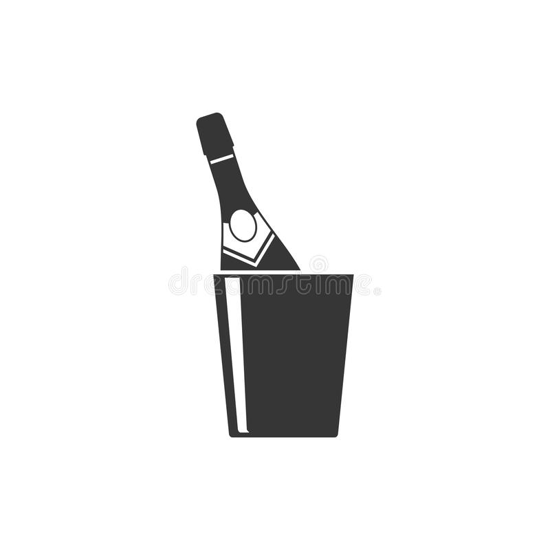 Champagne bottle in a bucket icon on white background. stock illustration