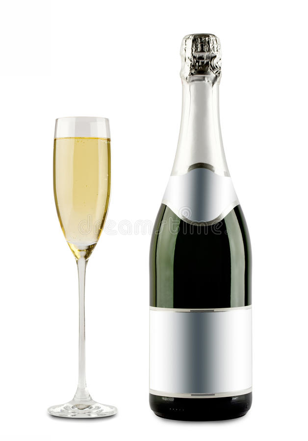Champagne bottle and champagne glass stock image