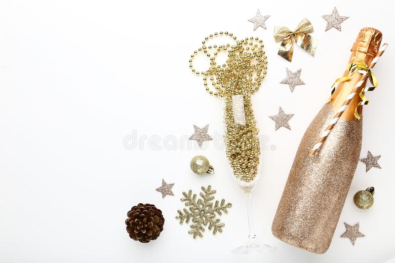 Champagne bottle with decorations stock images
