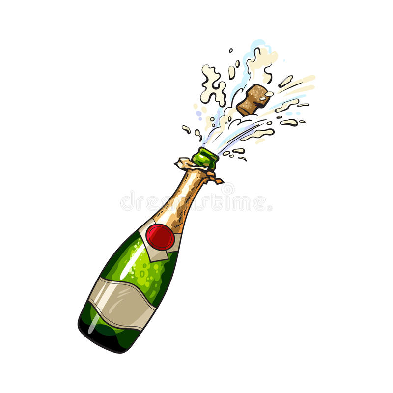 Champagne bottle with cork popping out. Sketch style vector illustration isolated on white background. Diagonal view of hand drawn champagne bottle with cork vector illustration
