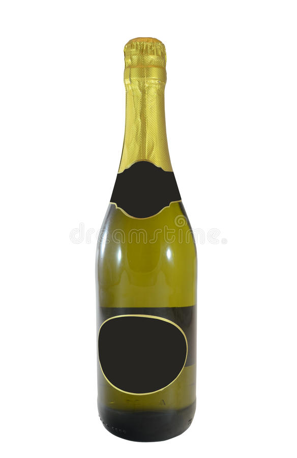 Champagne bottle. With empty label, isolated on white background stock photography