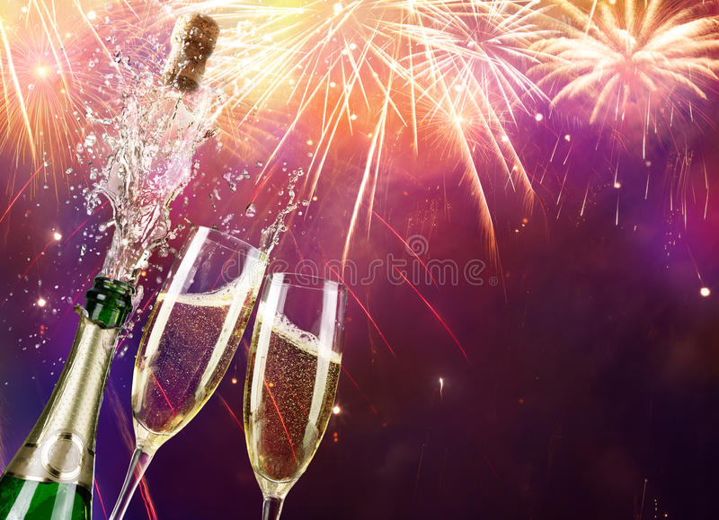 Champagne And Bottle. With Fireworks stock photos
