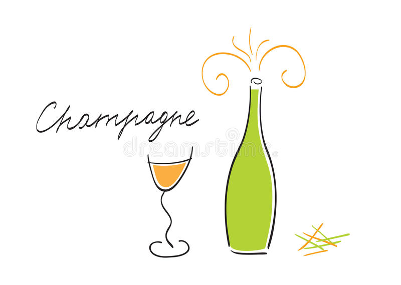 Download Champagne bottle and glass stock vector. Image of shape - 12430161