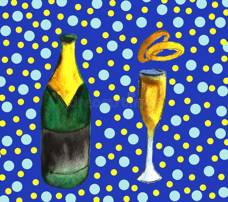 Champagne bottle and glass, drawing by watercolor and ink, hand drawn illustration royalty free illustration