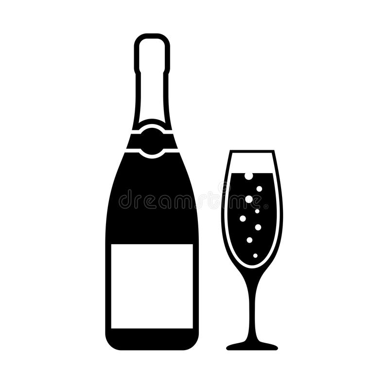 Champagne bottle and glass vector icon. Isolated on white background royalty free illustration