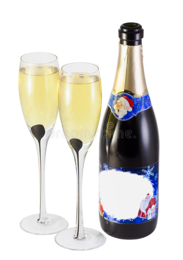 champagne bottle and glasses stock photo