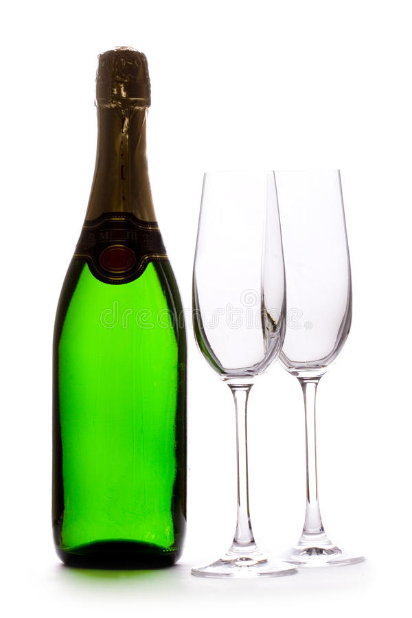 A Champagne Bottle and glasses stock photo