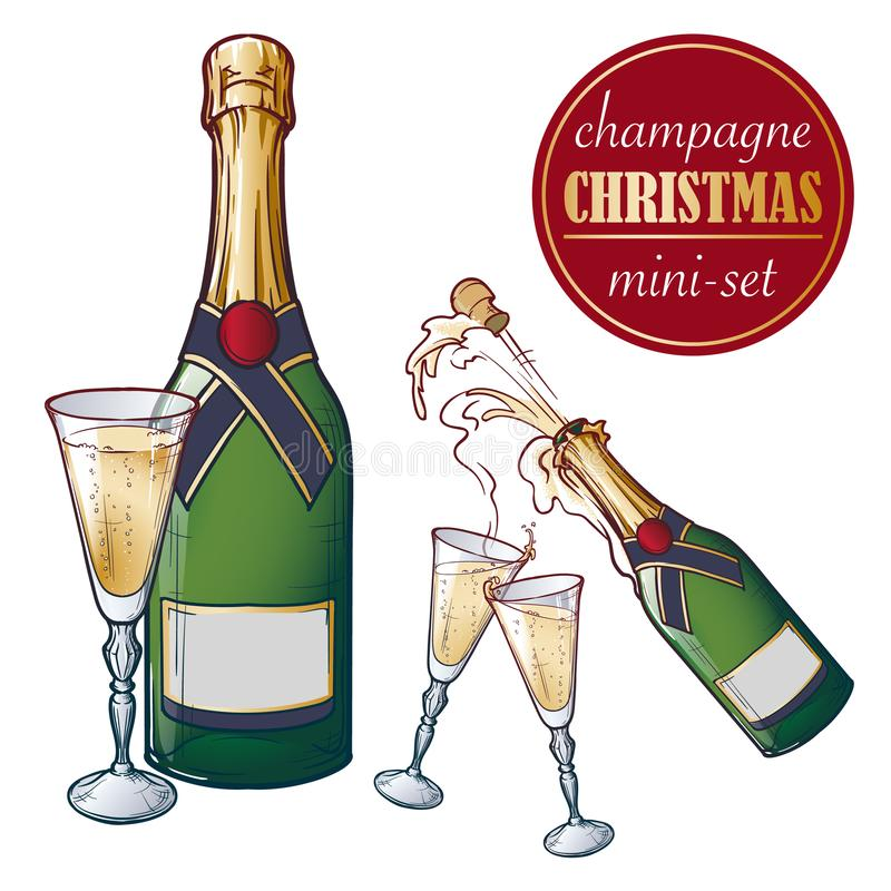 Champagne bottle and glasses. Closed and open champagne bottle and glasses, holiday toast, cork jumping out with. Explosion. Set of hand drawn EPS10 vector royalty free illustration