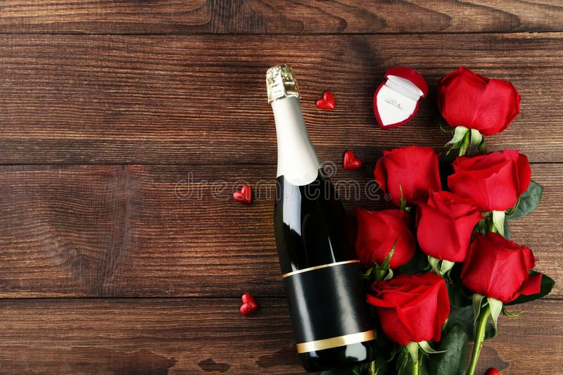 Champagne bottle with glasses royalty free stock photos