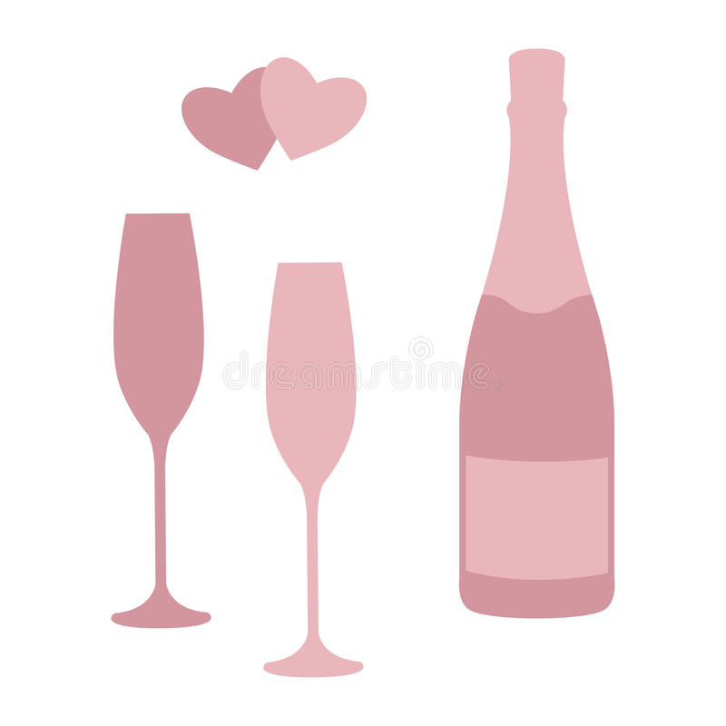 Champagne Bottle And Glasses. Stock Vector - Illustration of drawing ...