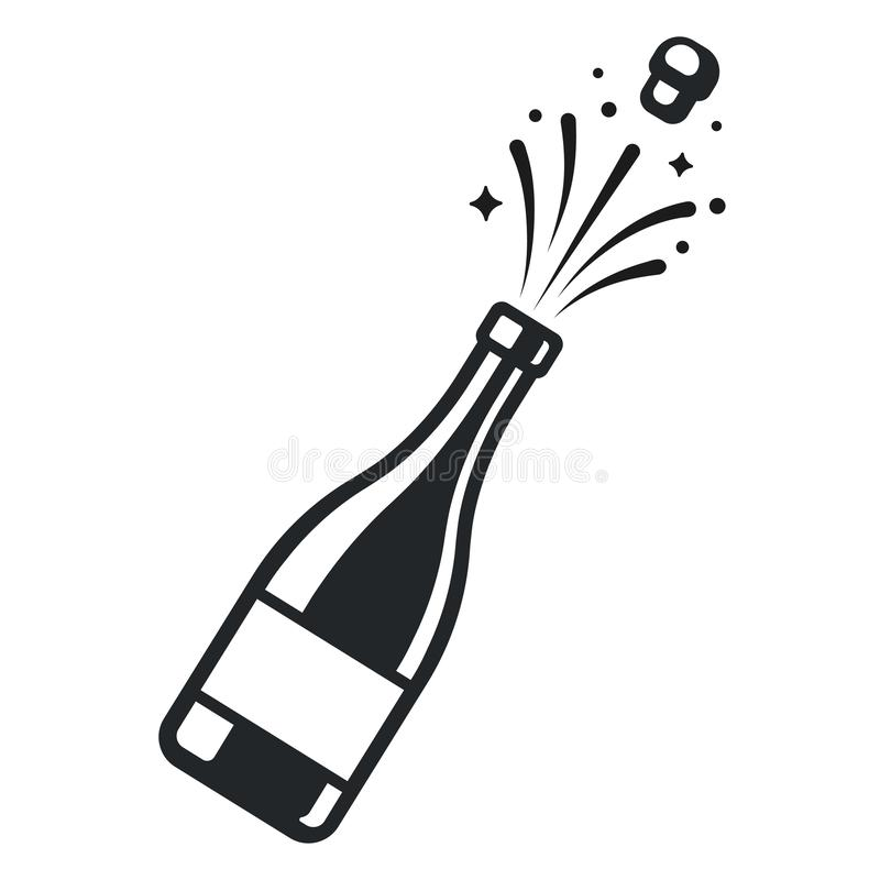 Champagne bottle pop. Open with cork and sparkles. Elegant black and white logo or icon vector illustration stock illustration