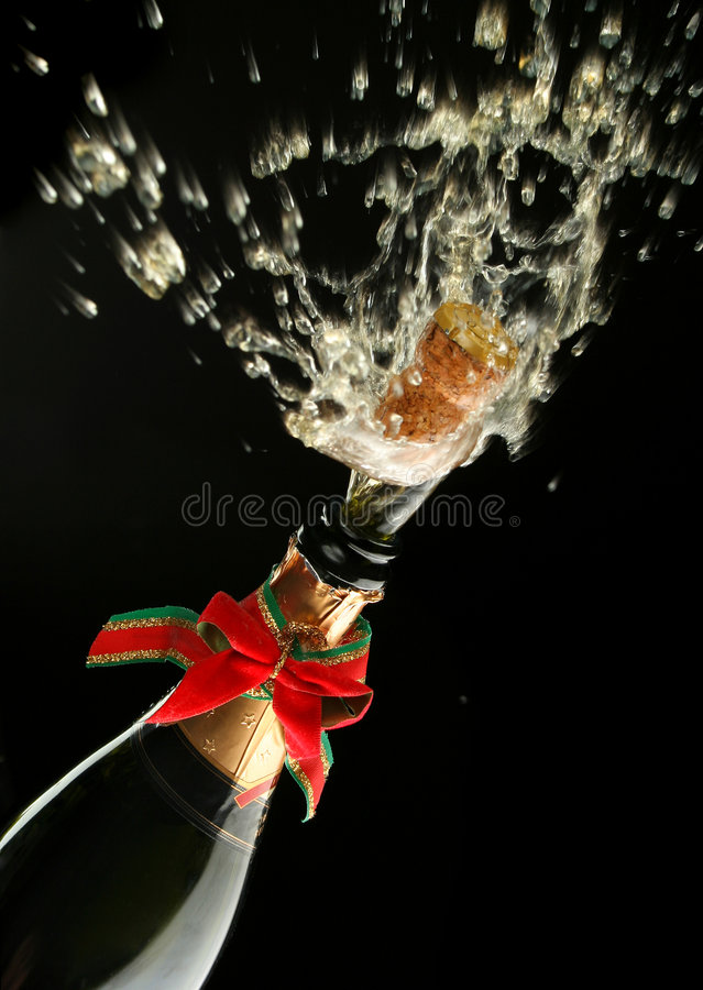 Champagne bottle ready for celebration stock photography